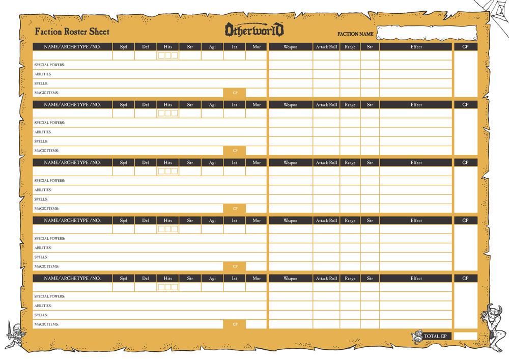 roster sheet